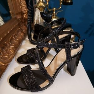 Jewel Badgley Mischka Glitter Heels